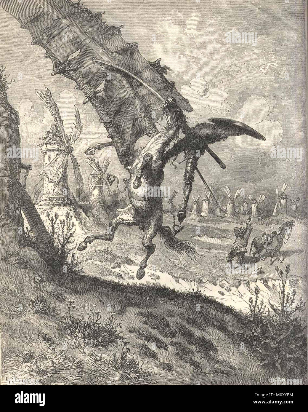 Don Quijote (Don Quixote) Illustration by Gustave Doré, depicting the famous windmill scene. - Stock Image