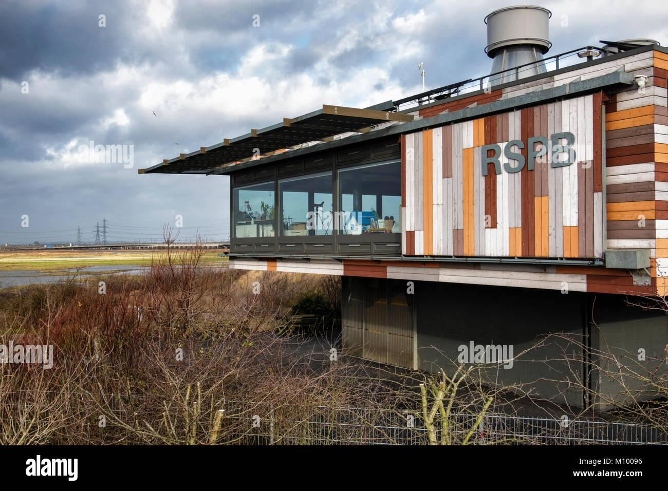 Essex UK. Visitor Centre of Rainham Marshes RSPB nature reserve next to Thames Estuary in Purfleet,Environmentally - Stock Image