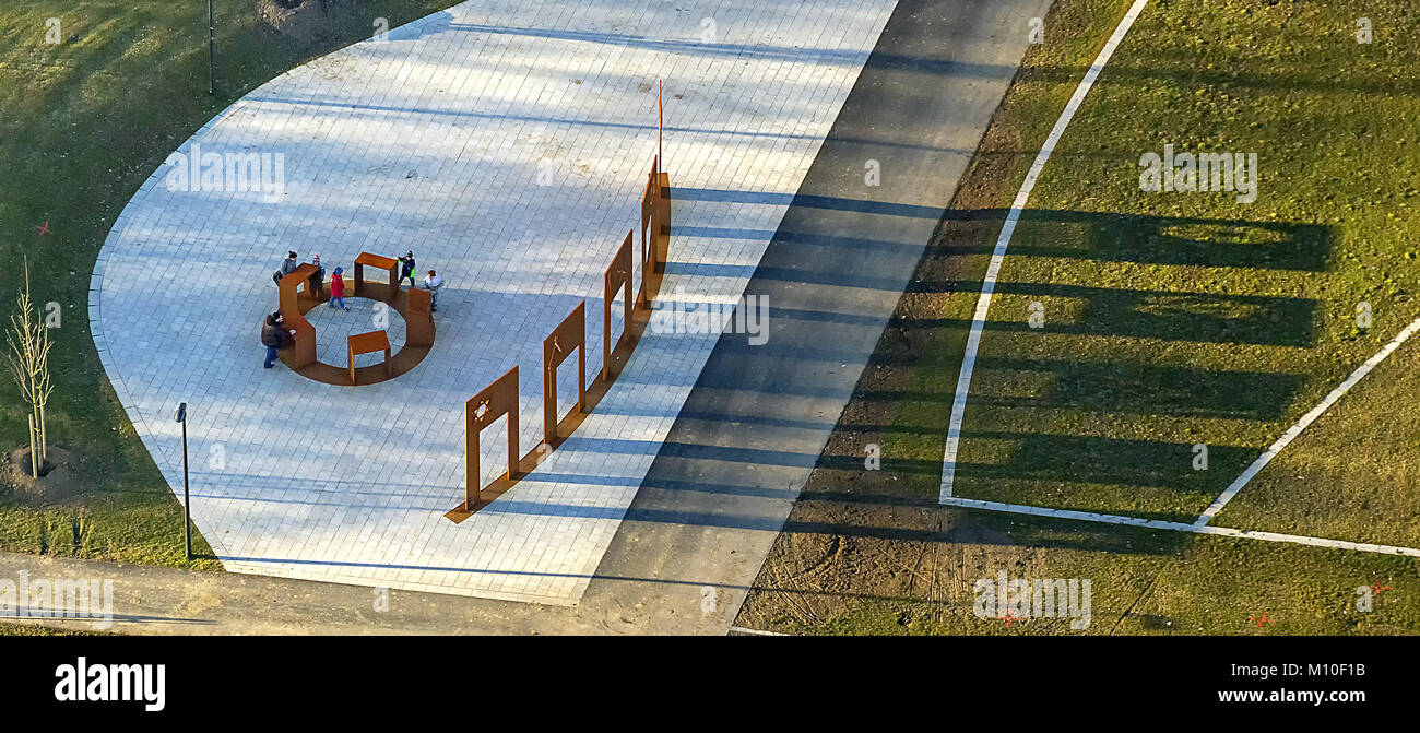 Aerial view, religion stealing, Islam, Hinduism, Christianity, Judaism, Buddism, shadow, LippePark ehem.Zeche Heinrich - Stock Image