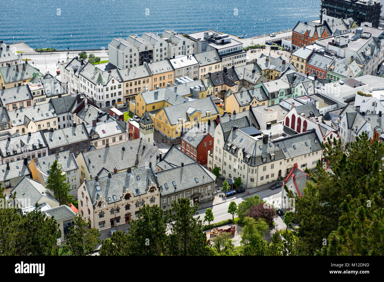 Aerial view over the town of Alesund in Norway - Stock Image