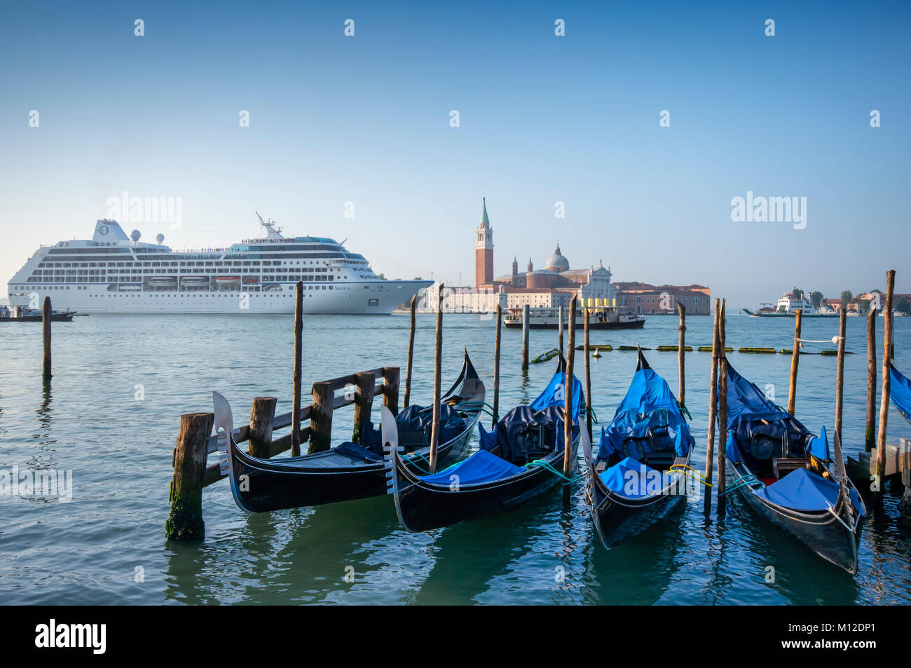 Cruise ship in Venice, Italy - Stock Image