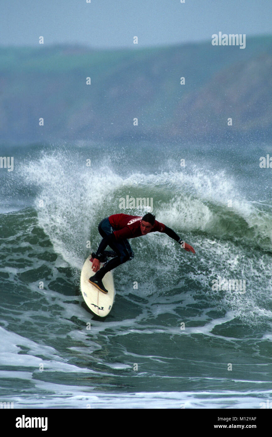 Nathan Phillips  welsh champion surfer 1999 surfing at Manorbier - Stock Image