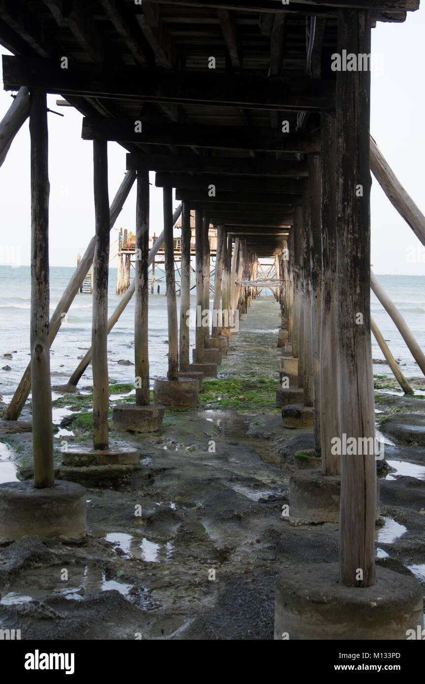 View under a pier with long wooden poles at low tide over the turquoise waters of the Indian Ocean sea in Nungwi, - Stock Image