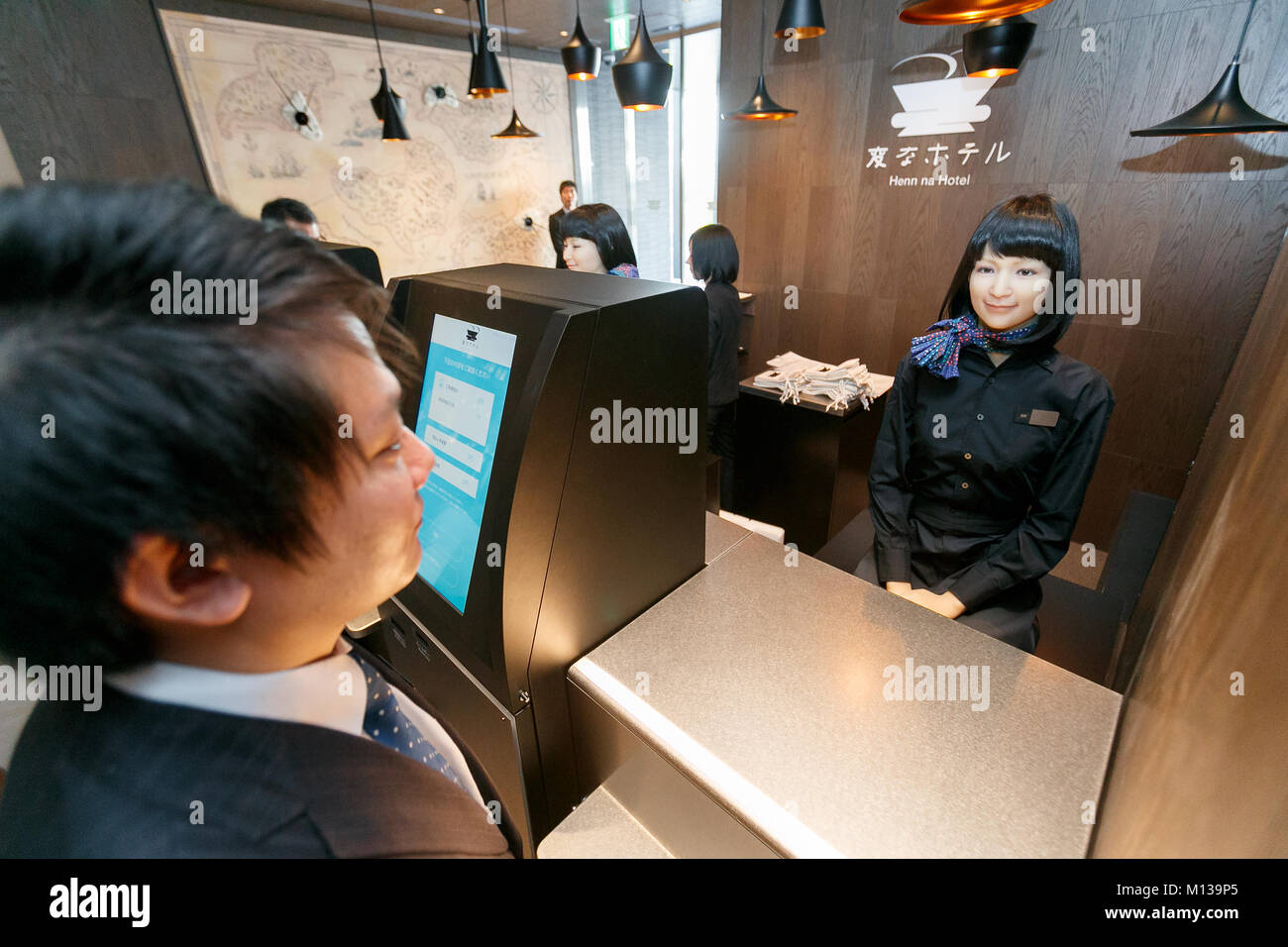 Tokyo, Japan. 26th January, 2018. A humanoid robot debuted working at the front desk of Henn-na (Weird) Hotel Ginza - Stock Image