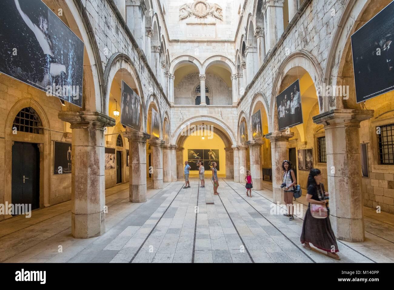 Croatia, Central Dalmatia, Dalmatian coast, Dubrovnik, lHistoric Centre listed as World Heritage by UNESCO, Sponza - Stock Image