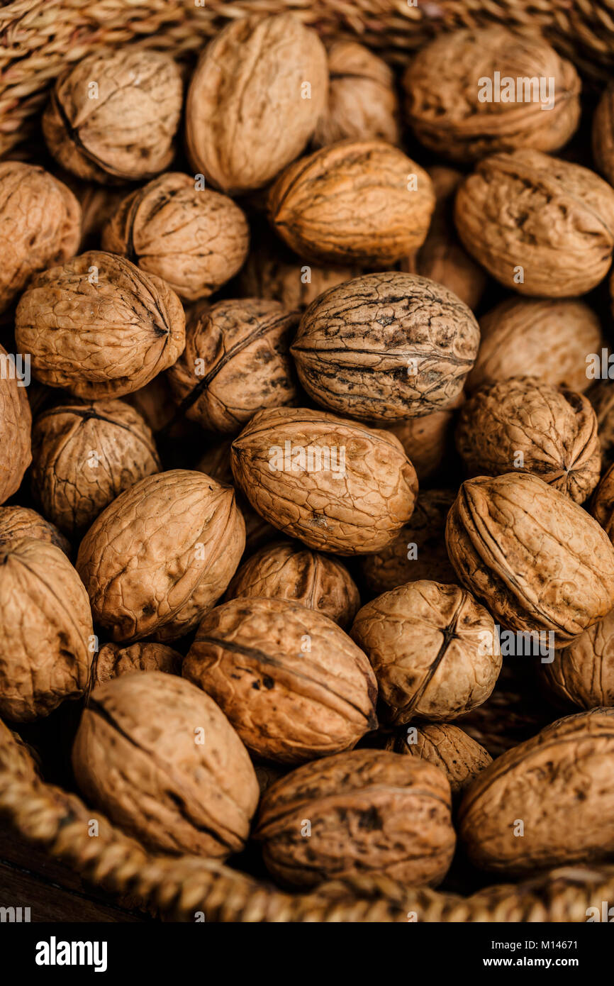 walnuts in a basket - Stock Image