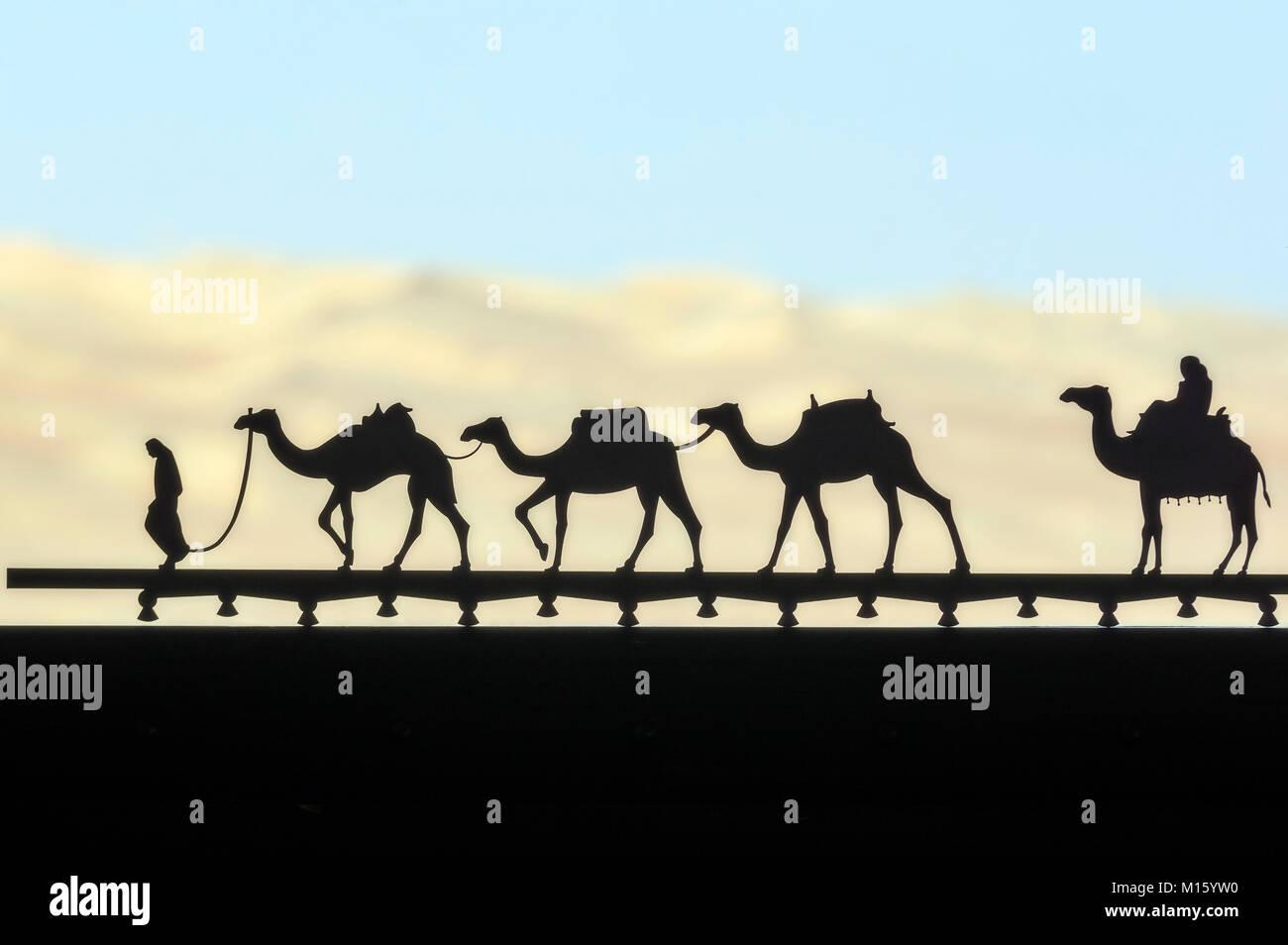 Camels as decoration on window,near Abu Dhabi,United Arab Emirates,Middle East - Stock Image
