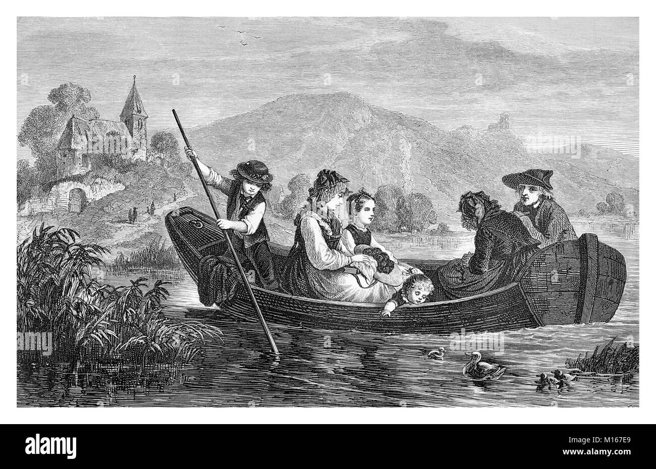 Sunday trip to church, family in a boat rowing on lake waters, vintage engraving - Stock Image