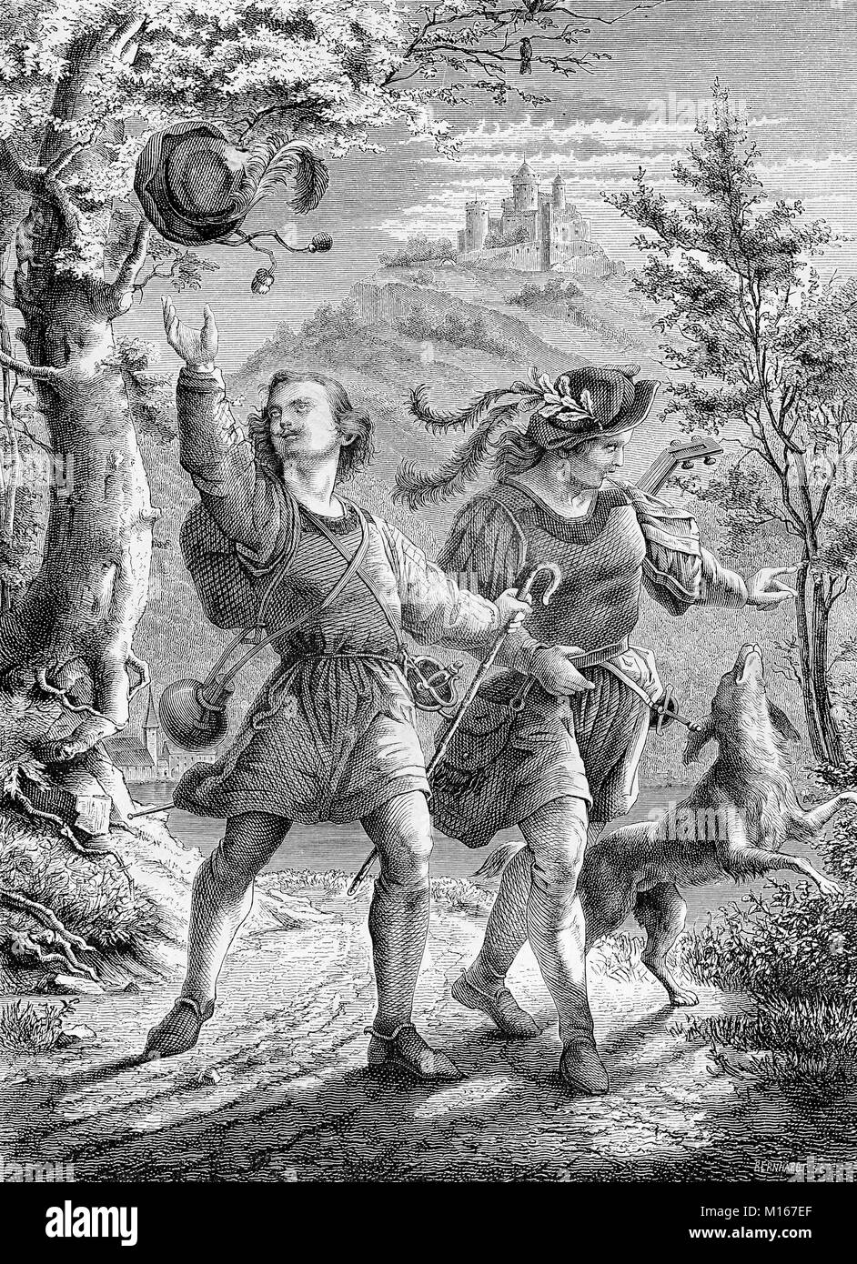 The wanderers, two happy joung men walk with dog in an idyllic landscape, vintage engraving - Stock Image