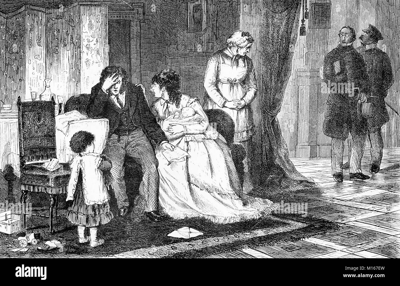 Family disaster, father goes bankrupt, vintage engraving - Stock Image