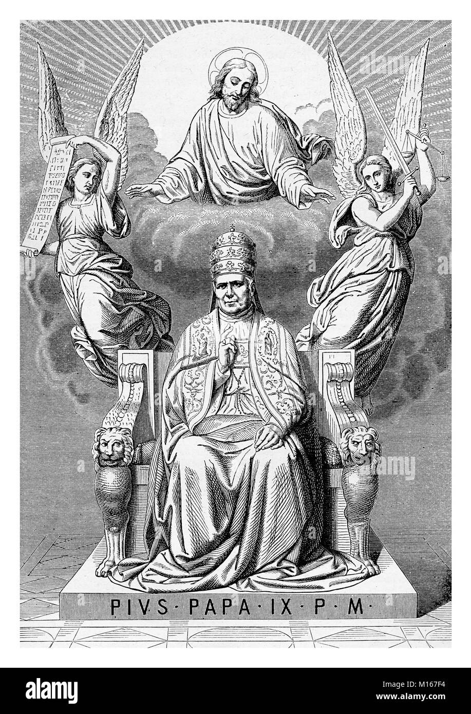 Allegorical apotheosis of Pope Pius IX on his throne, surrounded by angels and Jesus Christ, vintage engraving - Stock Image