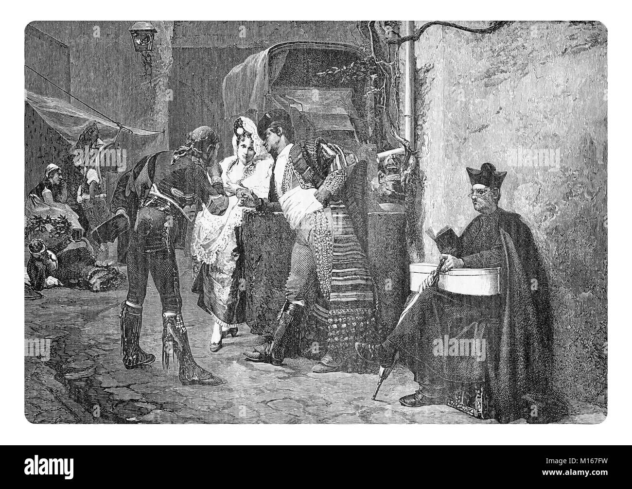 Vintage engraving, travellers at the post station waiting for the coach in a Spanish village - Stock Image
