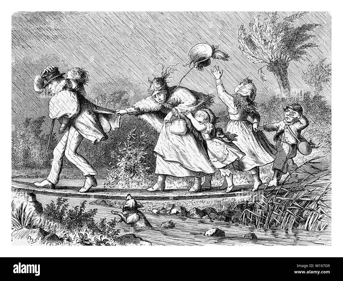Family at the first spring excursion under the rain, vintage engraving - Stock Image