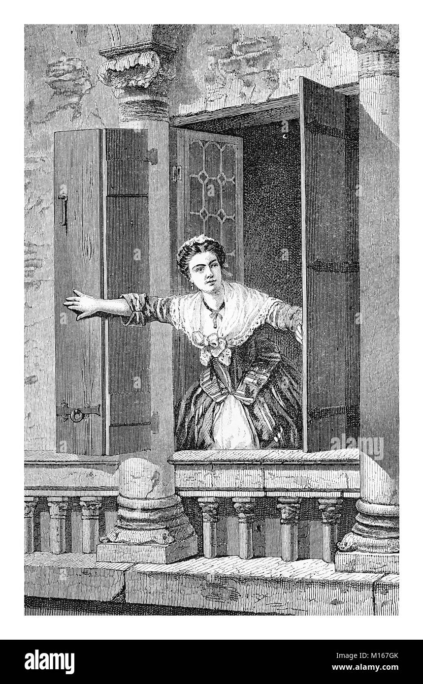 Beautiful morning, young maid opens the window, vintage engraving - Stock Image