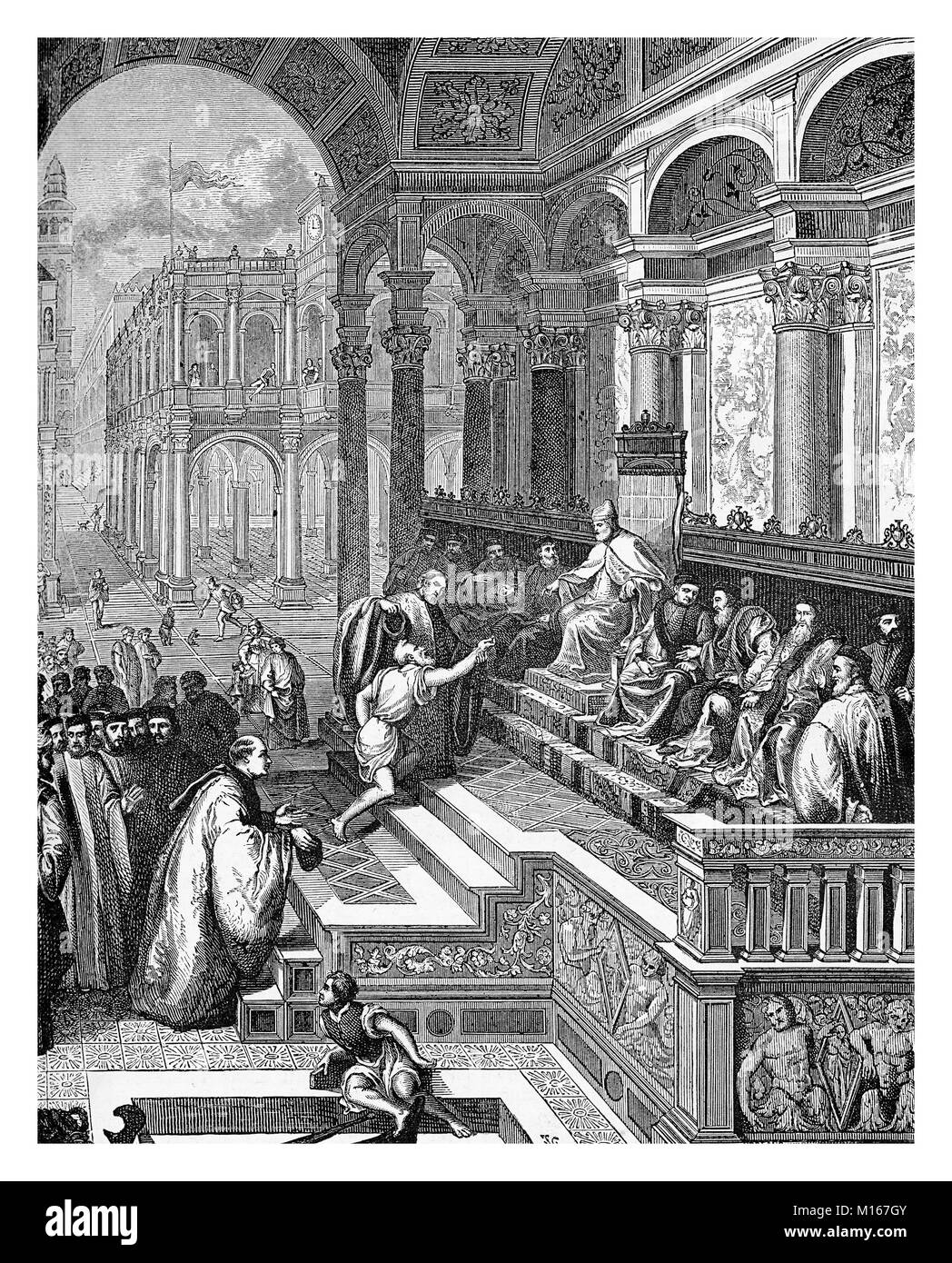 Fisherman presenting the Saint Marcus Ring to the Doge Gradenigo, Engraving from a painting of XVI century - Stock Image