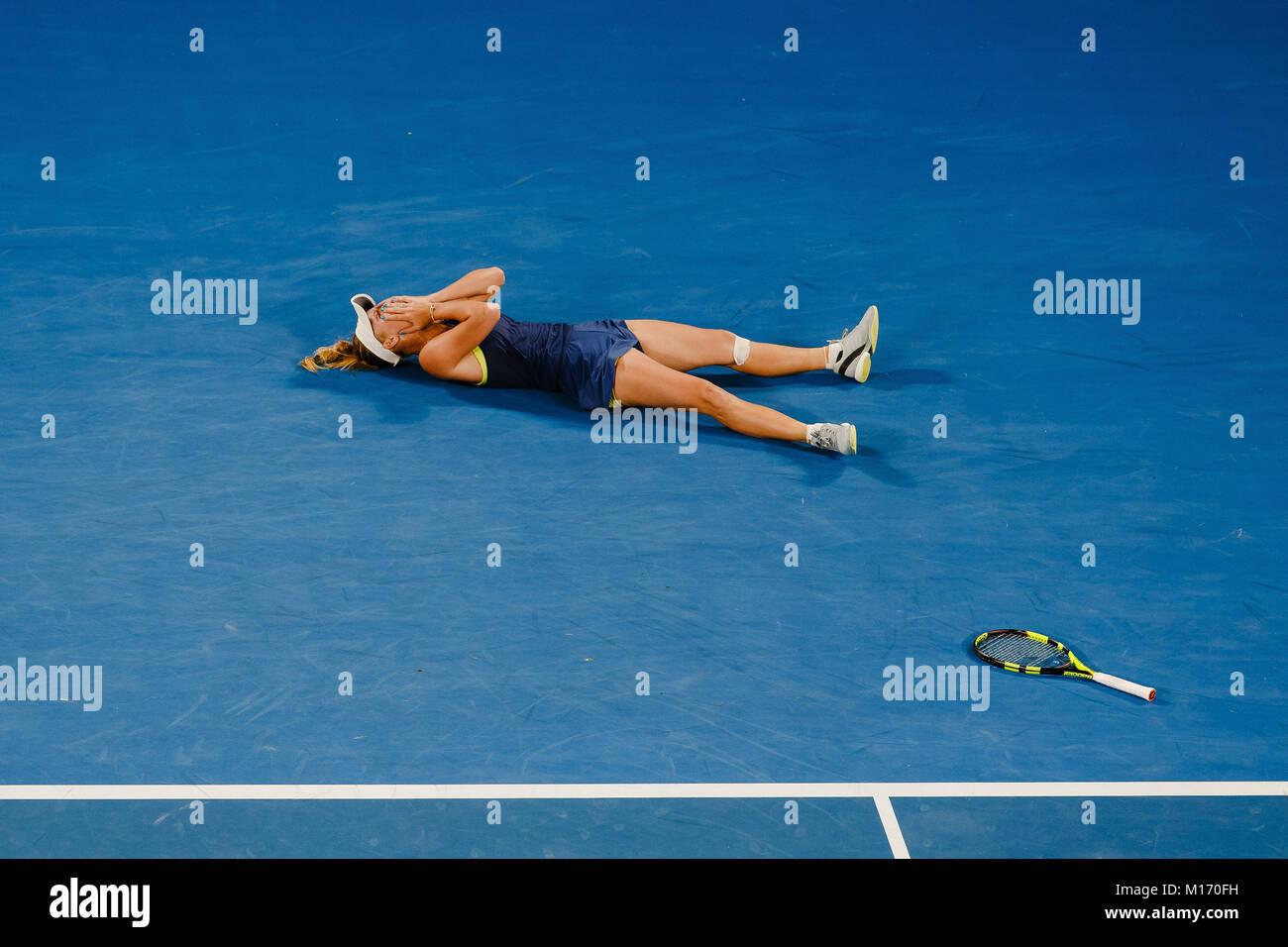 Melbourne, Australia , 27th January 2018: Danish tennis player Caroline Wozniacki won her first Grand Slam title - Stock Image