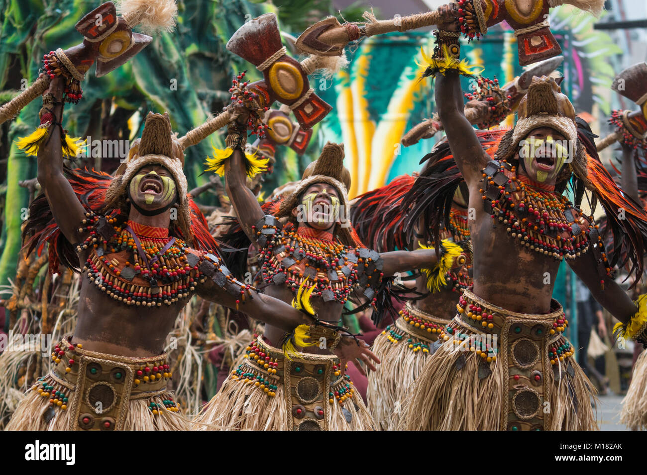 Iloilo City, Philippines. 28th January 2018.The culmination of Dinagyang,One of the most vibrant tribal street dancing - Stock Image
