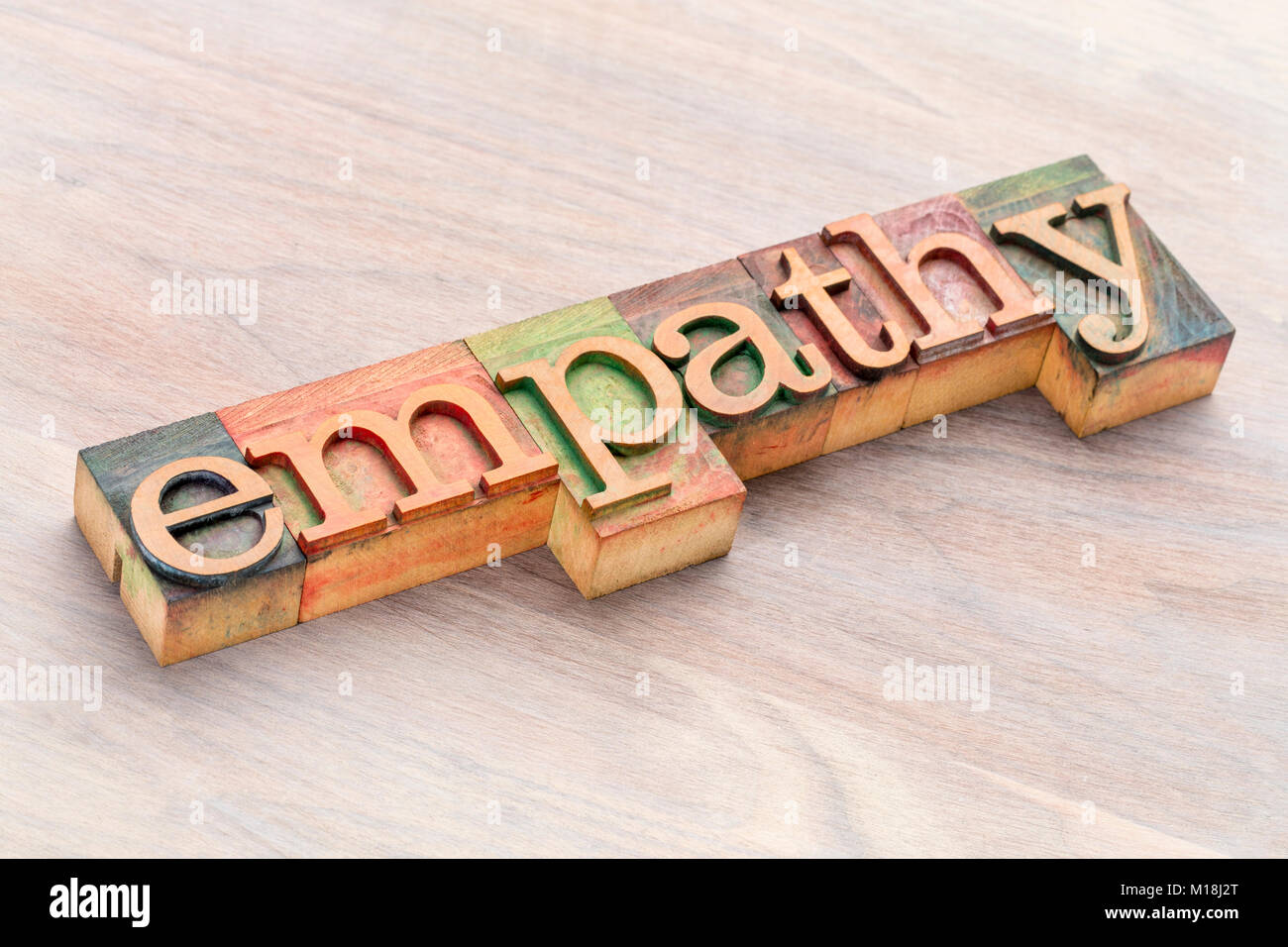 empathy word abstract in letterpress wood type blocks stained by color inks - Stock Image