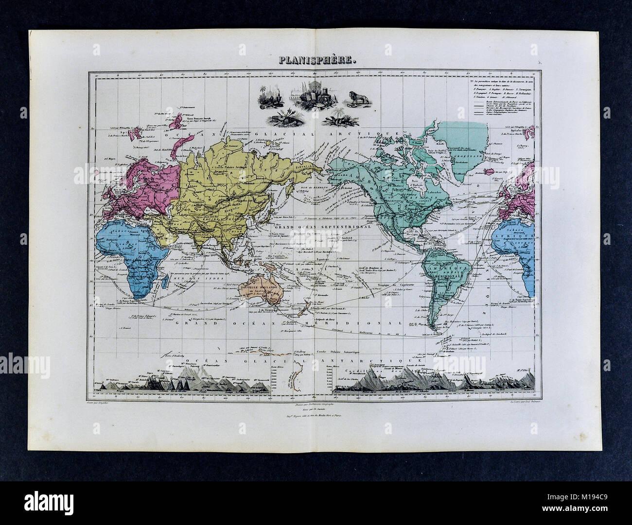 1877 Migeon Map - Stock Image