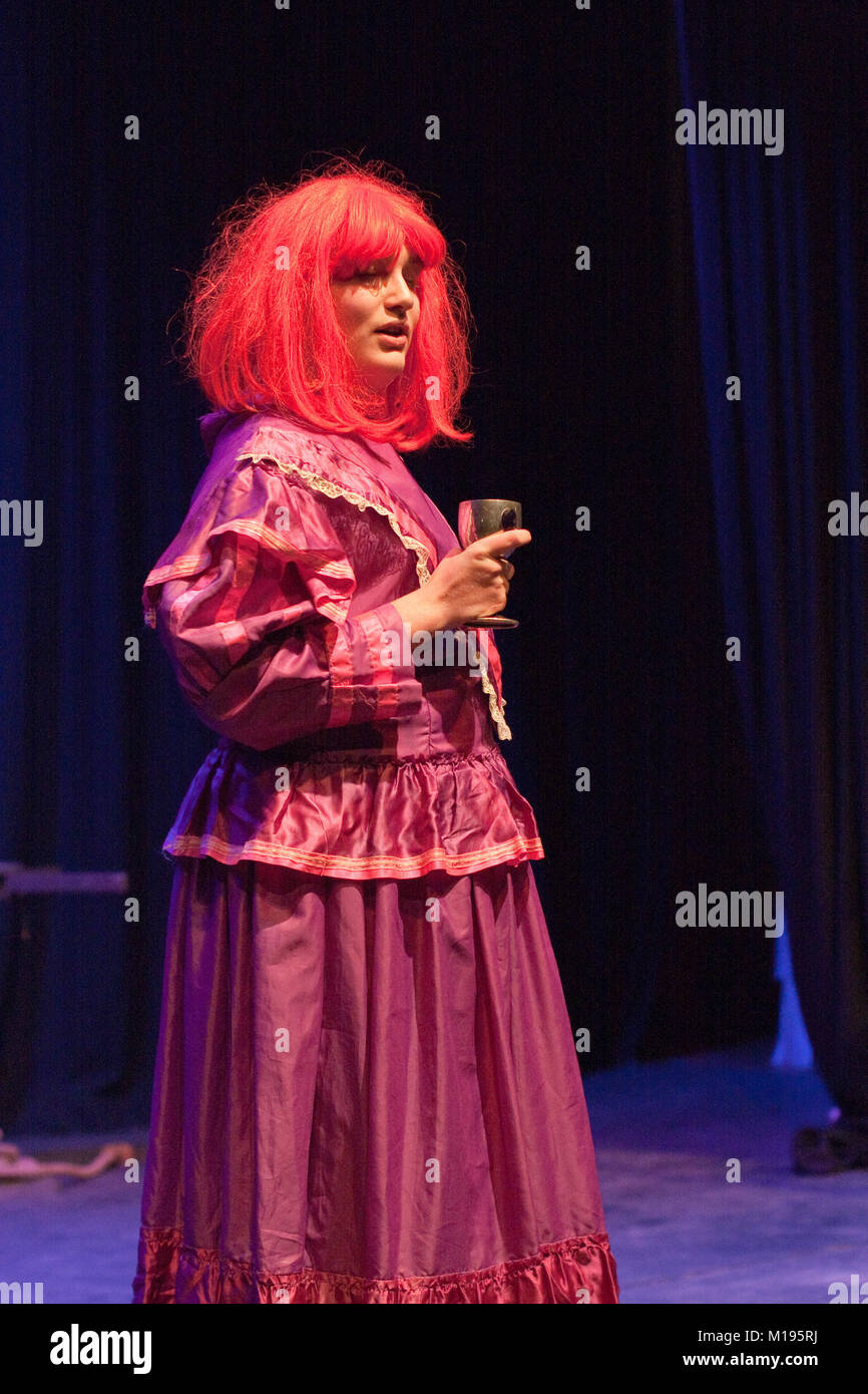 Young man wearing drag for a Christmas show - Stock Image