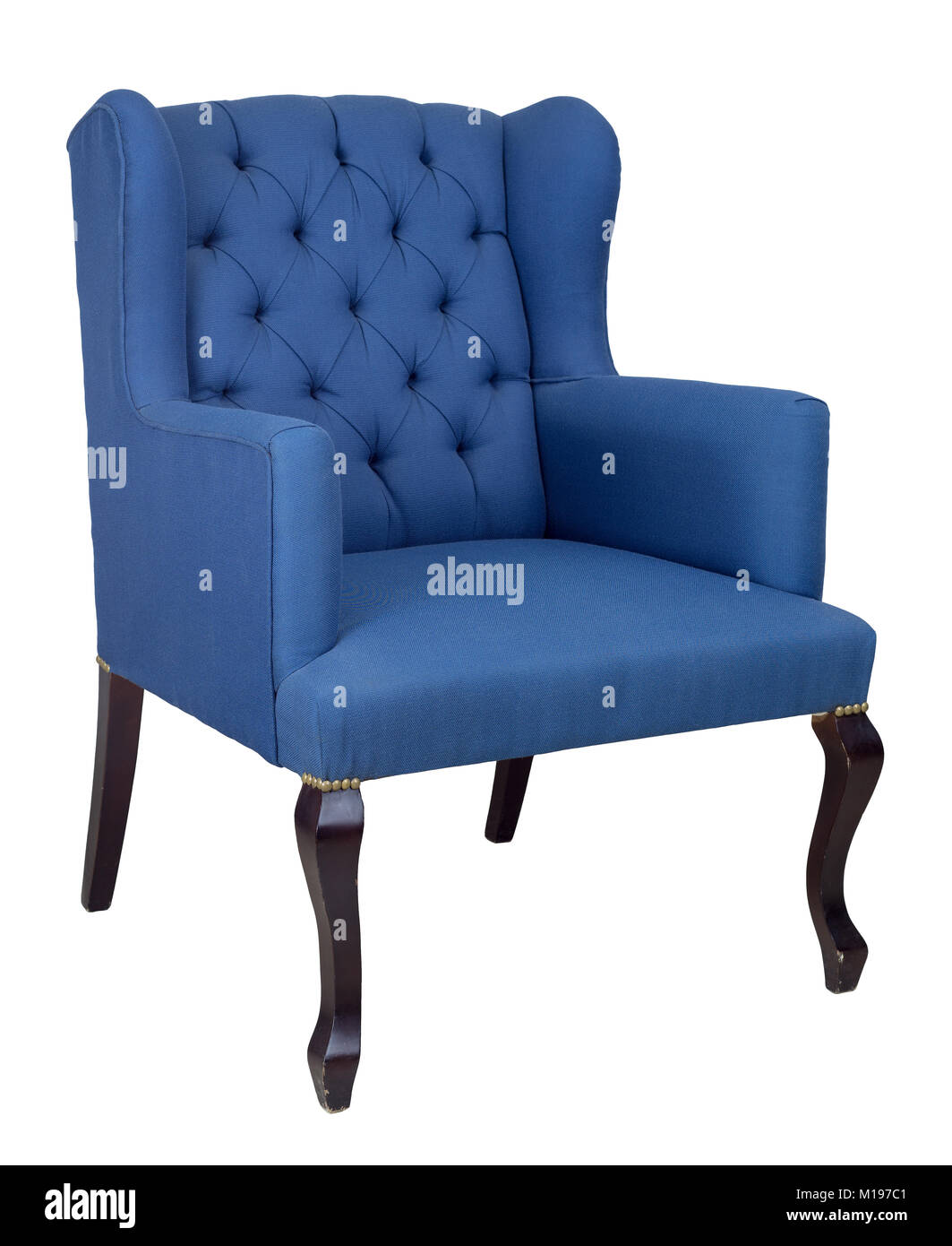 Vintage Furniture - French blue wingback armchair with dark brown wooden legs isolated on white background including - Stock Image