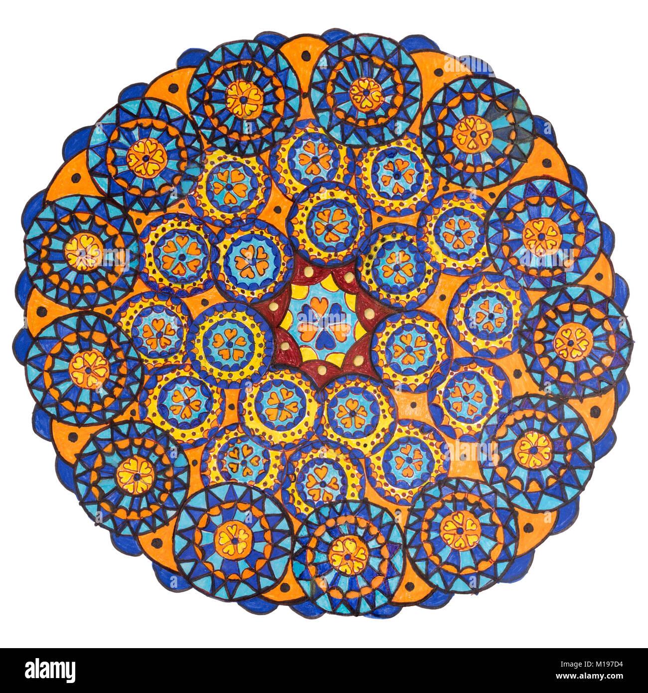 Colorful oriental decorative hand drawn mandala pattern - Stock Image