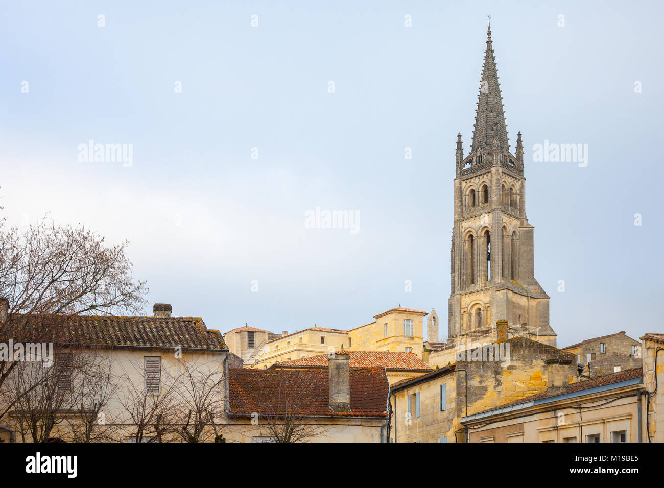 Collegial church (Eglise Collegiale) of Saint Emilion, France, taken during a sunny afternoon surrounded by the - Stock Image