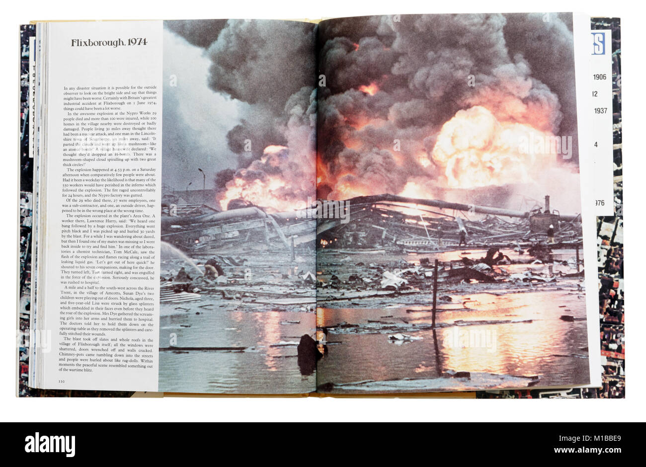 A book of disasters open to the page about the 1974 Flixborough explosion - Stock Image