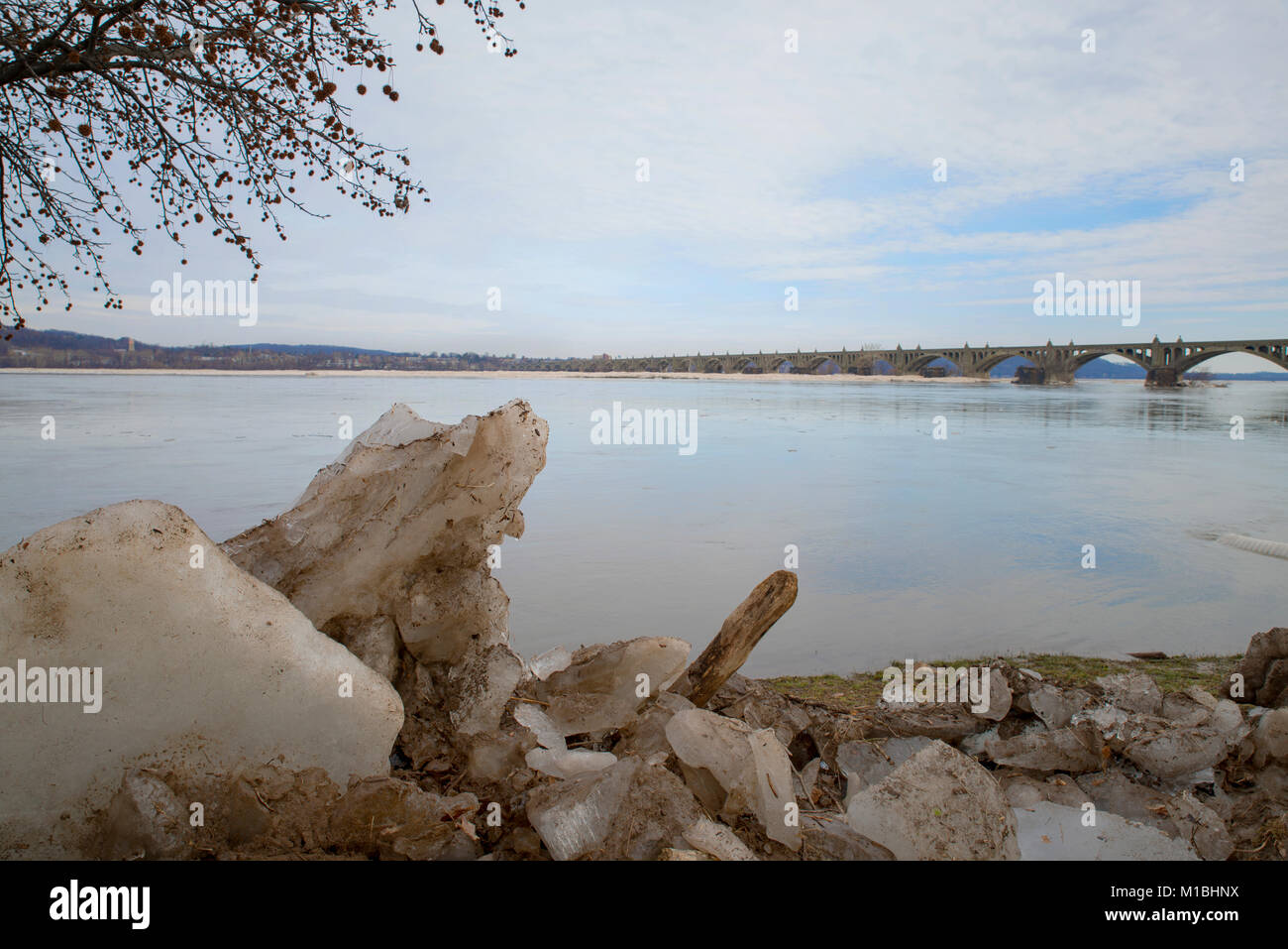 Ice jam on the Susquehanna River from York County PA - Stock Image