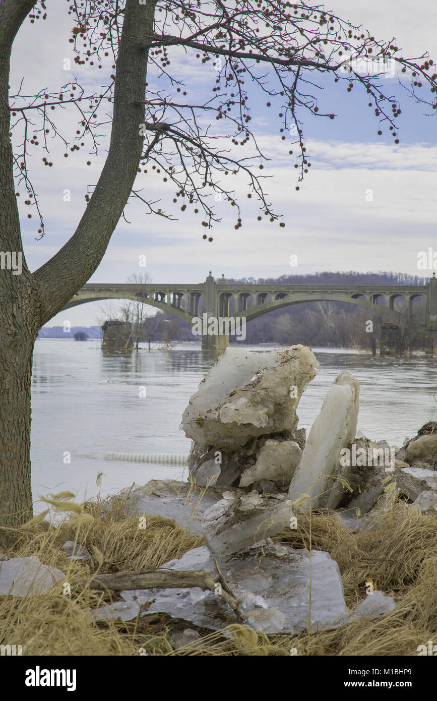 Ice jam on the Susquehanna River in York County PA - Stock Image