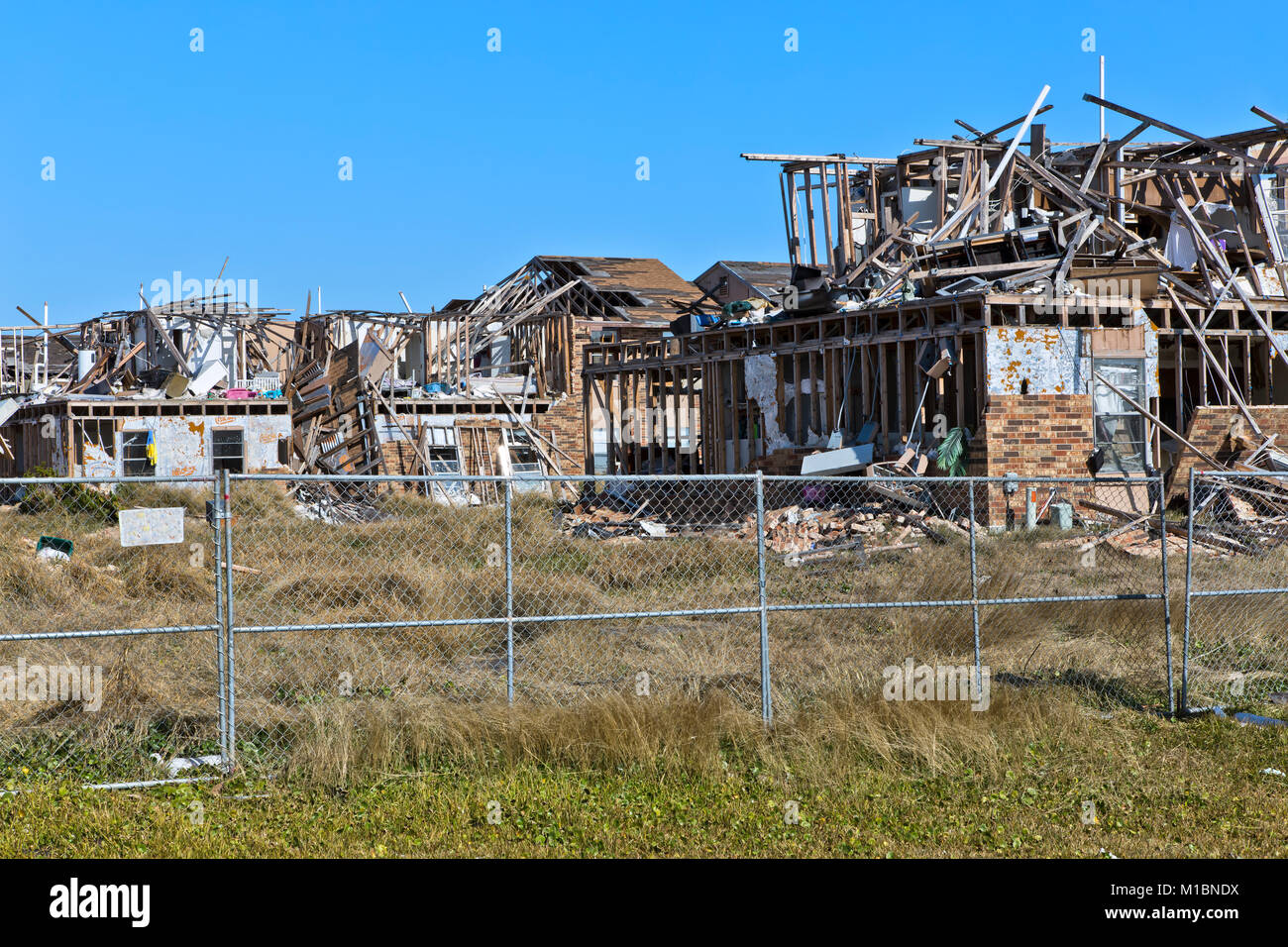 Multiple apartment complex totally destroyed by hurricane Harvey, August 2017. - Stock Image