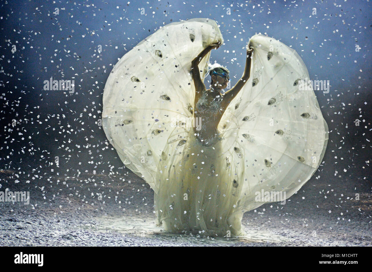Tianjin, China. 29th Jan, 2018. Chinese dancing master Yang Liping performs in her dance drama 'Peacock of Winter' - Stock Image