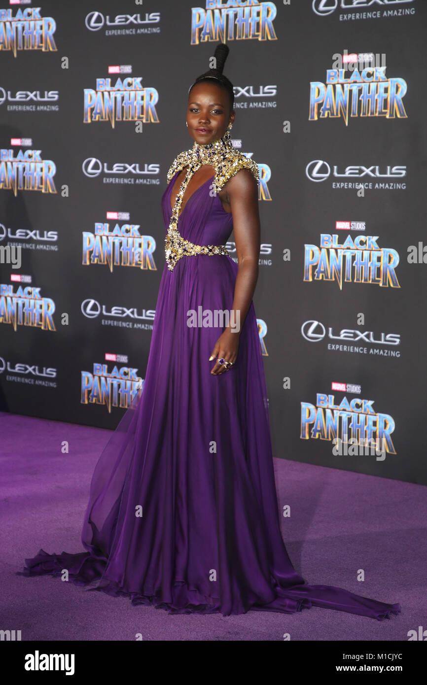 Los Angeles, Ca, USA. 29th Jan, 2018. Lupita Nyong'o at Marvel Studios' World Premiere of Black Panther - Stock Image