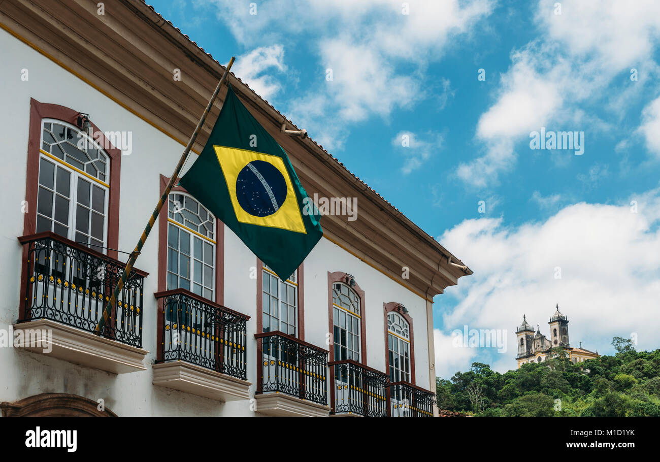 Brazilian flag in Ouro Preto, Brazil Stock Photo