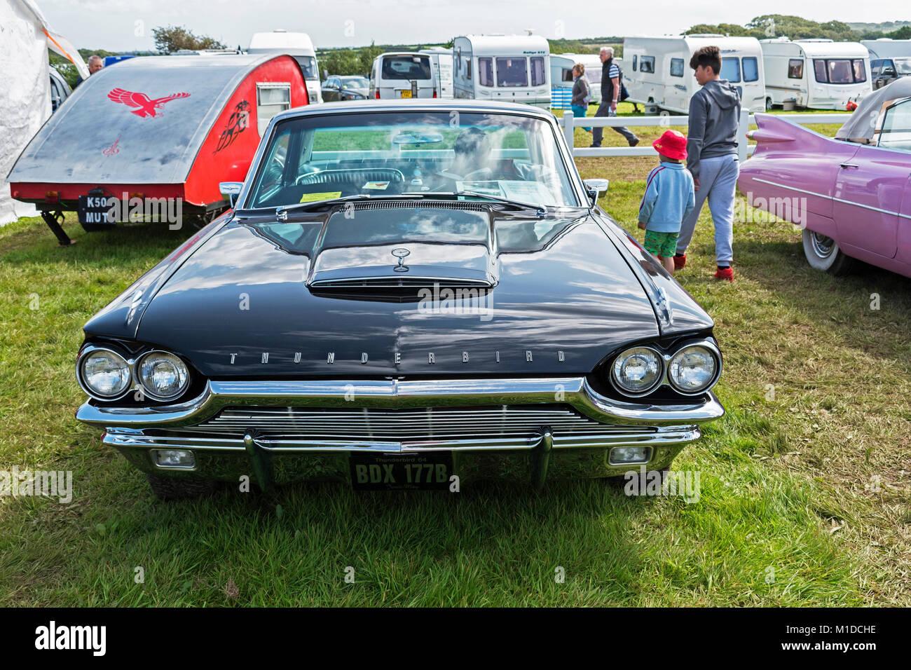 a 64 vintage classic thunderbird motor car - Stock Image