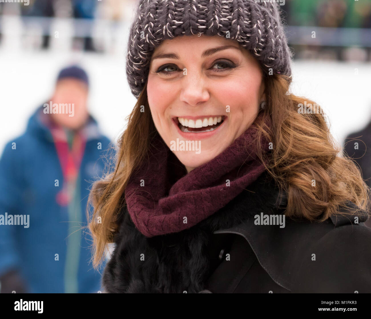 Stockholm, Sweden. 30, January, 2018. Prince William and Catherine Duchess of Cambridge visiting an ice rink in - Stock Image