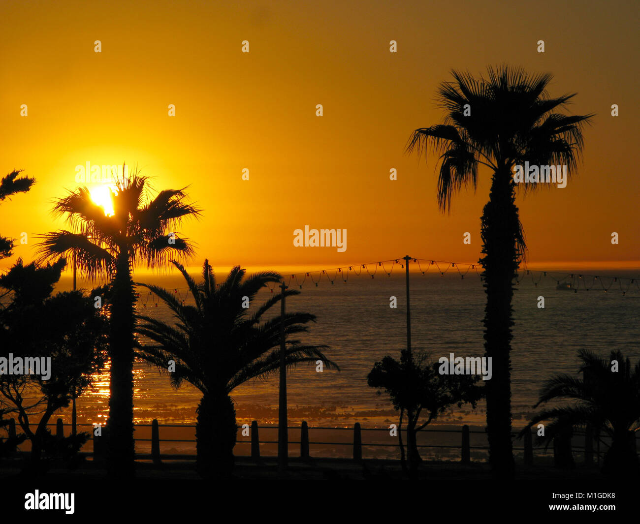 Sunset at Sea Point, Cape Town, Western Cape, South Africa - Stock Image
