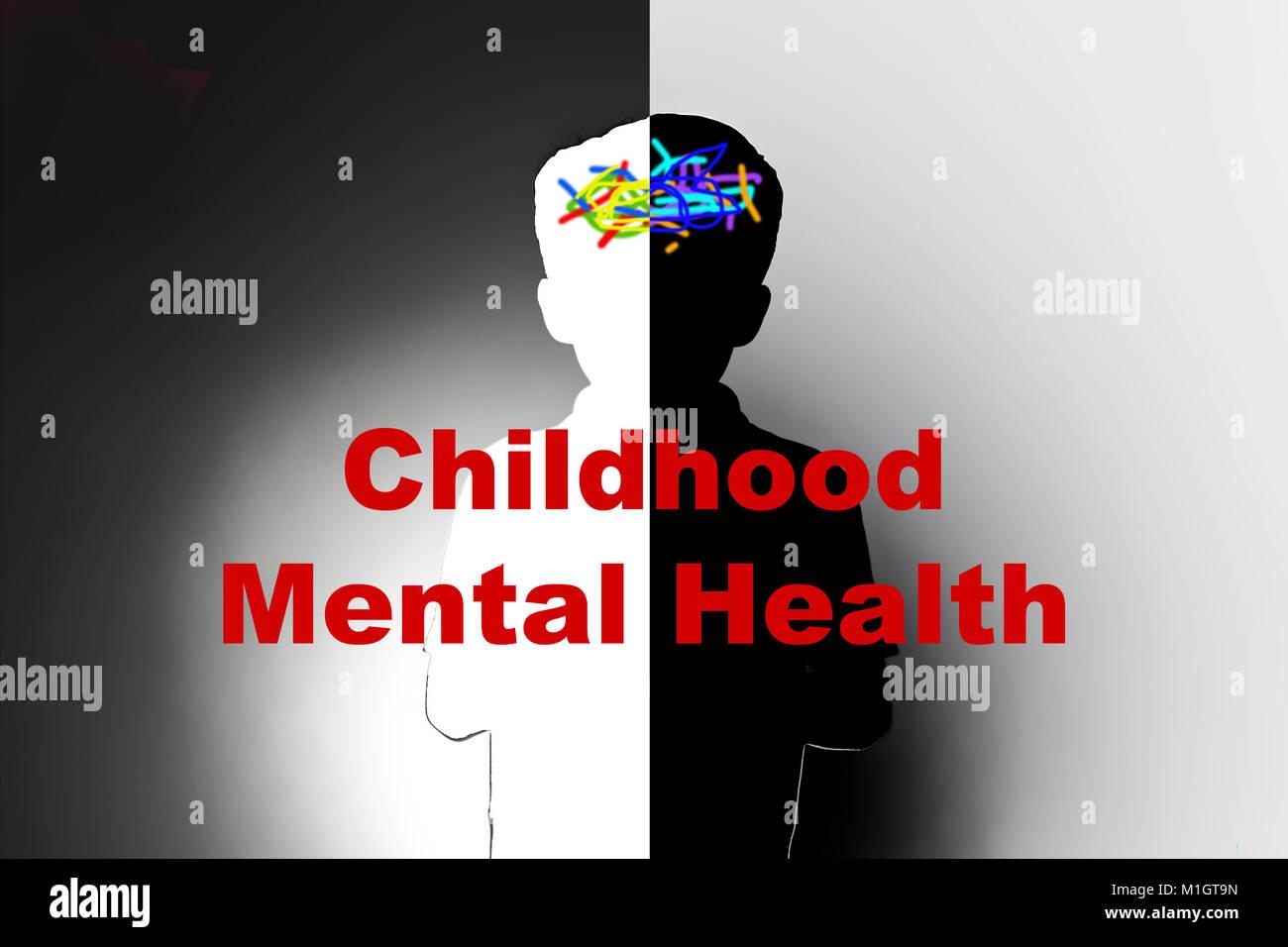 childhood mental health, safeguarding children and social care, mental illness - Stock Image