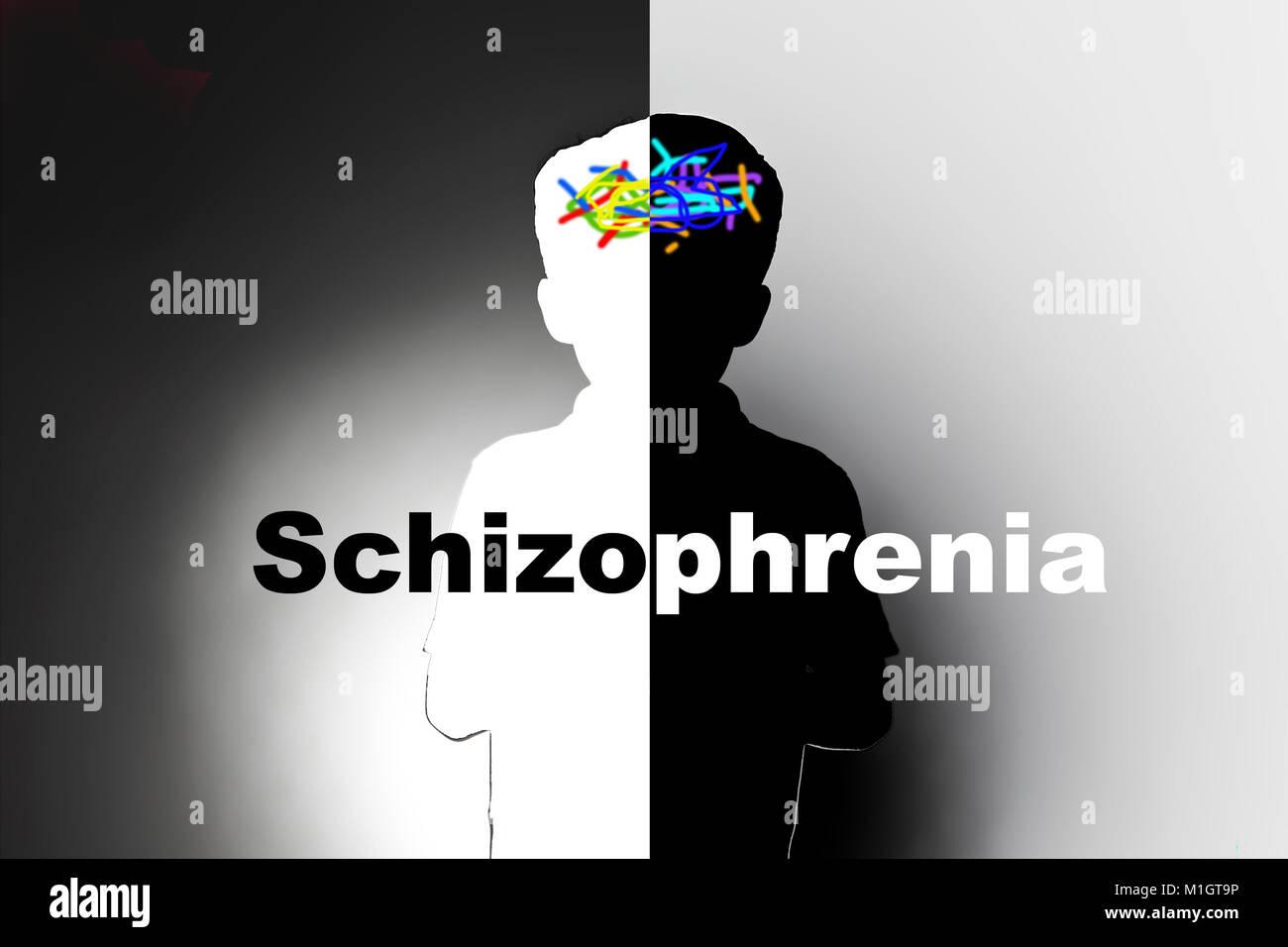 childhood schizophrenia, safeguarding children and social care,mental illness - Stock Image