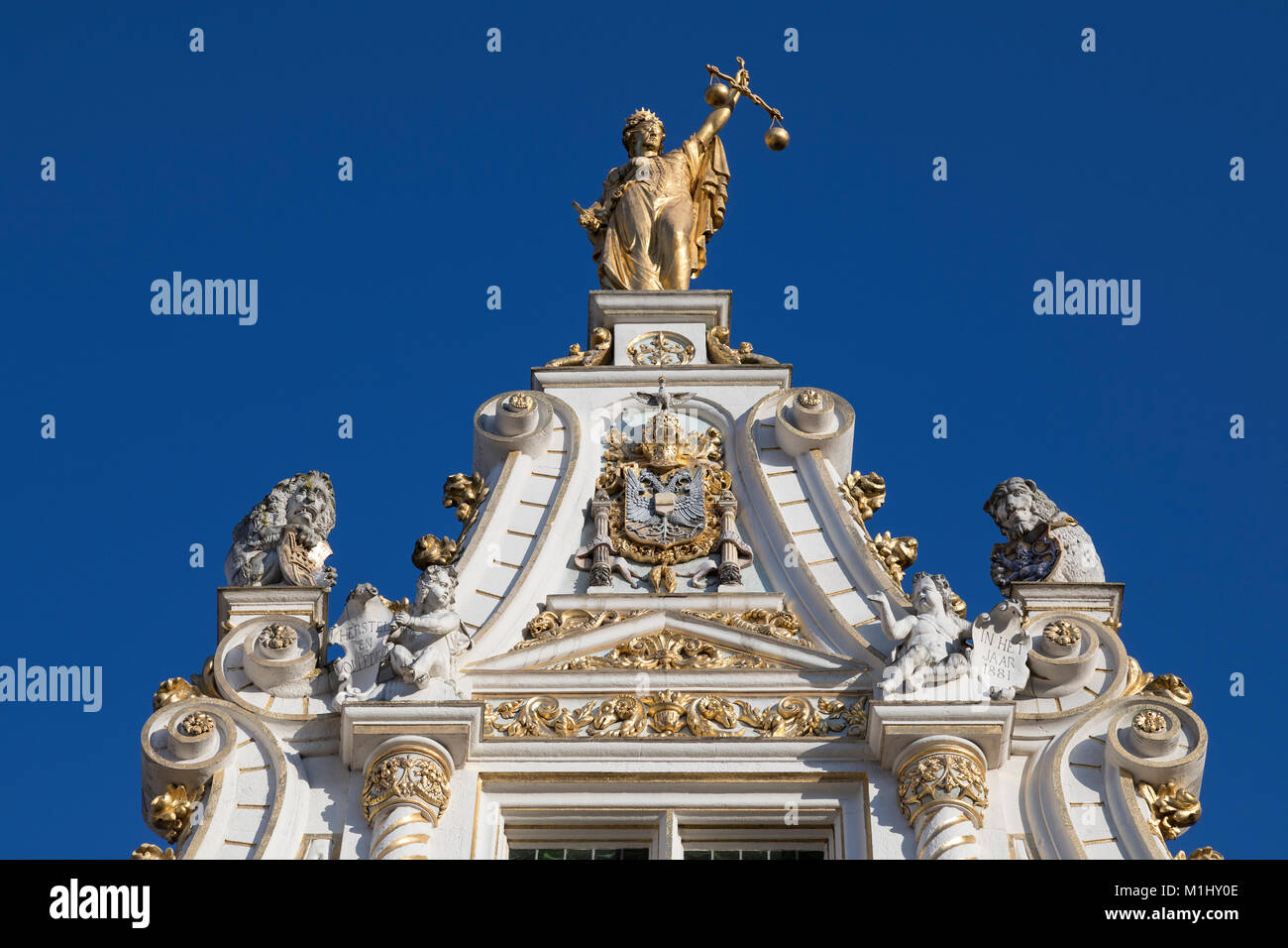 Detail on the Stadhuis van Brugge (Bruges City Hall) in the city of Bruges in Belgium. It is located in Burg Square, - Stock Image