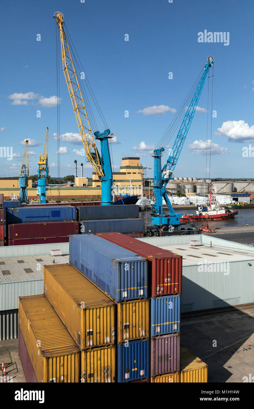 Shipping Containers on the dockside in the Port of Hull in the United Kingdom. - Stock Image