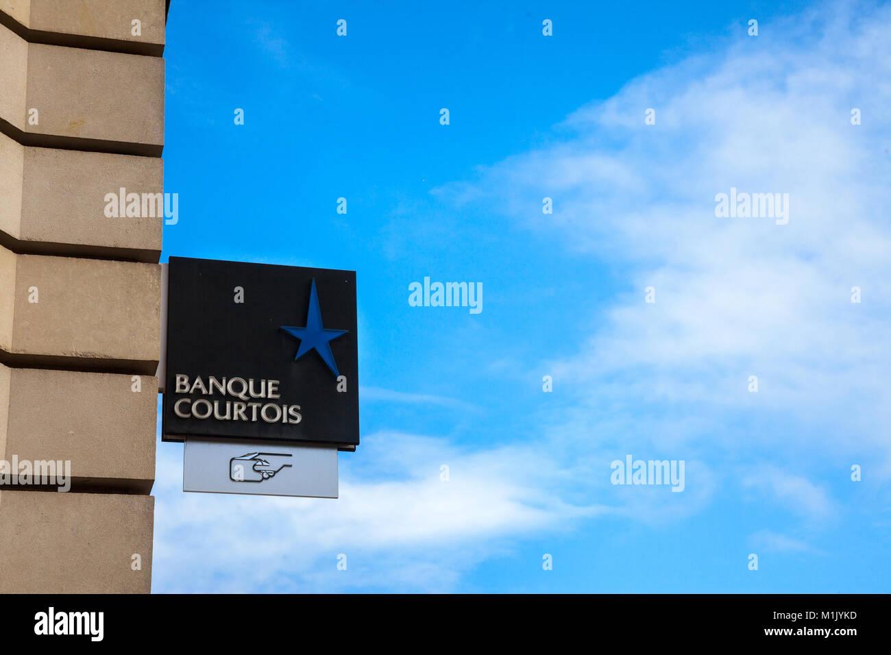 BORDEAUX, FRANCE - DECEMBER 27, 2017: Banque Courtois Logo on their main office in Bordeaux.  Banque Courtois is - Stock Image