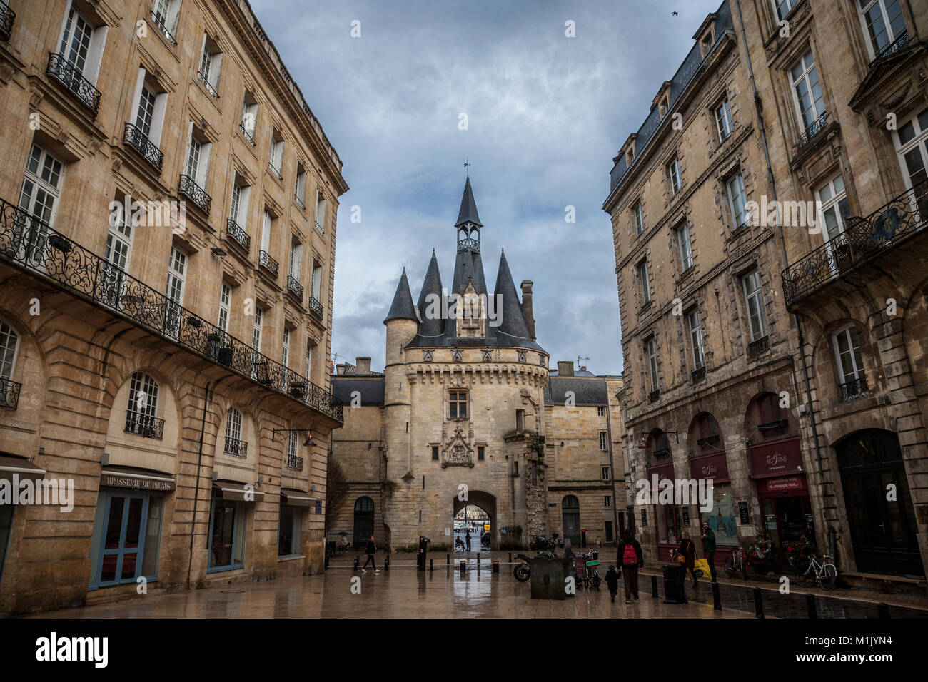 BORDEAUX, FRANCE - DECEMBER 26, 2017: Porte Cailhau (Cailhau Gate) in the city center of Bordeaux. This medieval - Stock Image