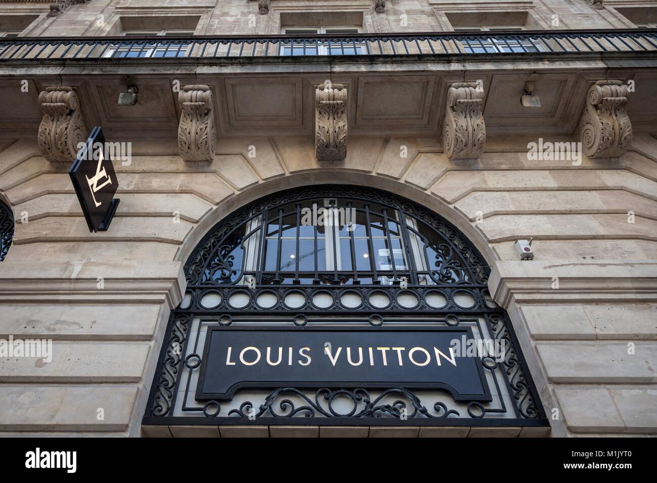 BORDEAUX, FRANCE - DECEMBER 27, 2017: Louis Vuitton Logo on their local shop in Bordeaux.  Louis Vuitton is a fashion - Stock Image
