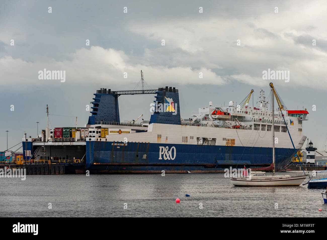 P&O Ro-Ro ferry 'European Endeavour' moored at Dublin Docks, Ireland before departure with copy space. - Stock Image