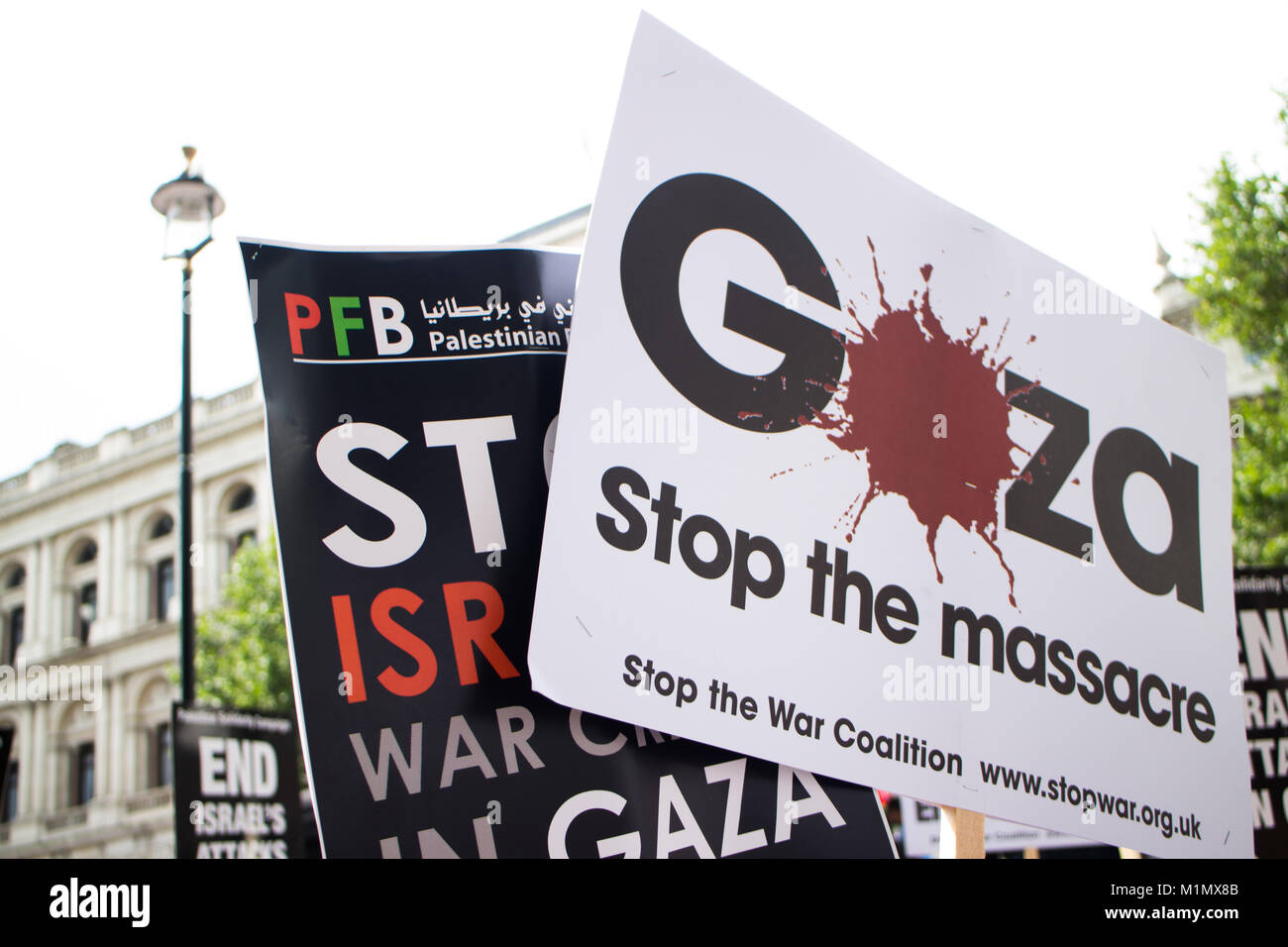 Plaques at Free Gaza Demo - Stock Image