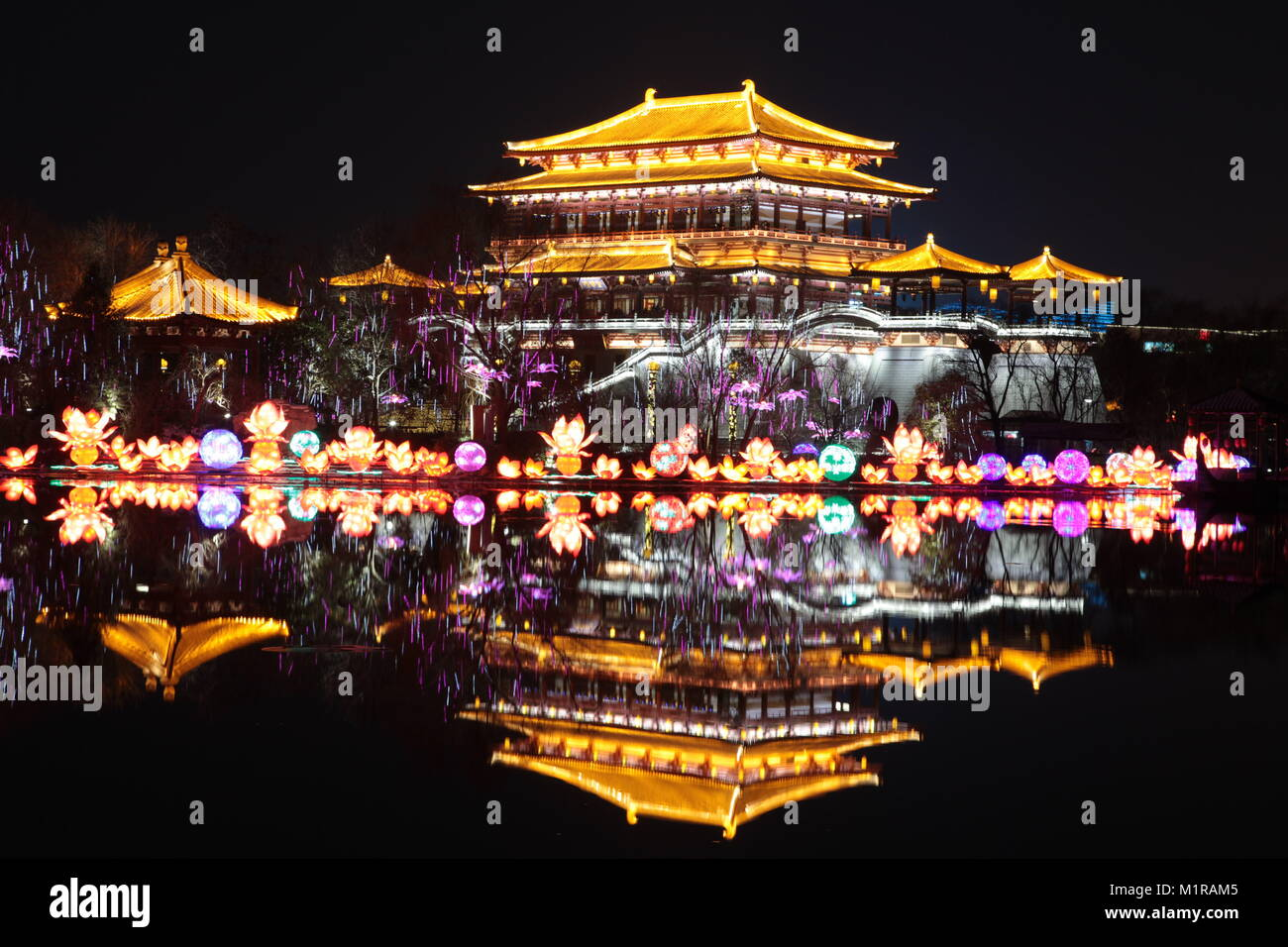 Xi'an, China. 31st January, 2018. The lantern fair is held in Xi'an, northwest China's Shaanxi Province. - Stock Image
