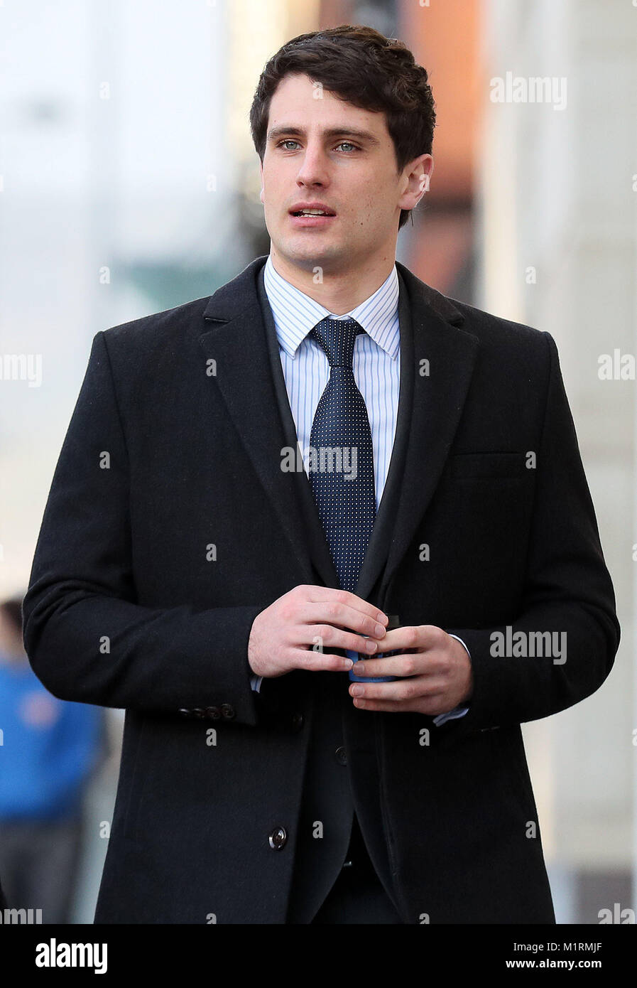 Blane McIlroy arrives at Belfast Crown Court where he is on trial accused of one count of exposure, in connection - Stock Image