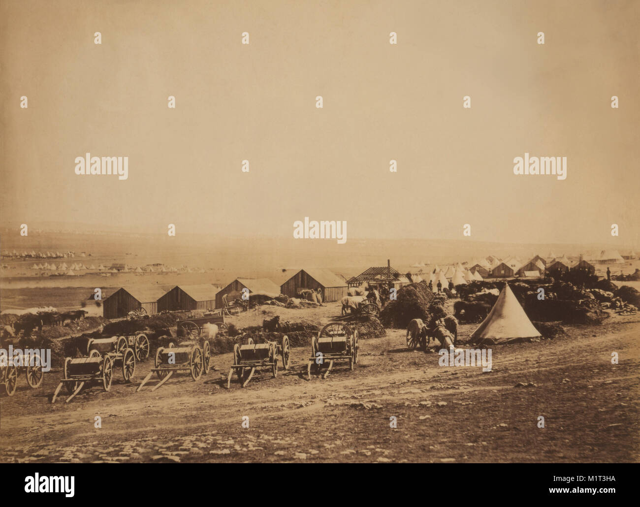 Artillery Wagons and Buildings at British Military Camp with View towards Balaklava, Crimean War, Crimea, Ukraine, - Stock Image