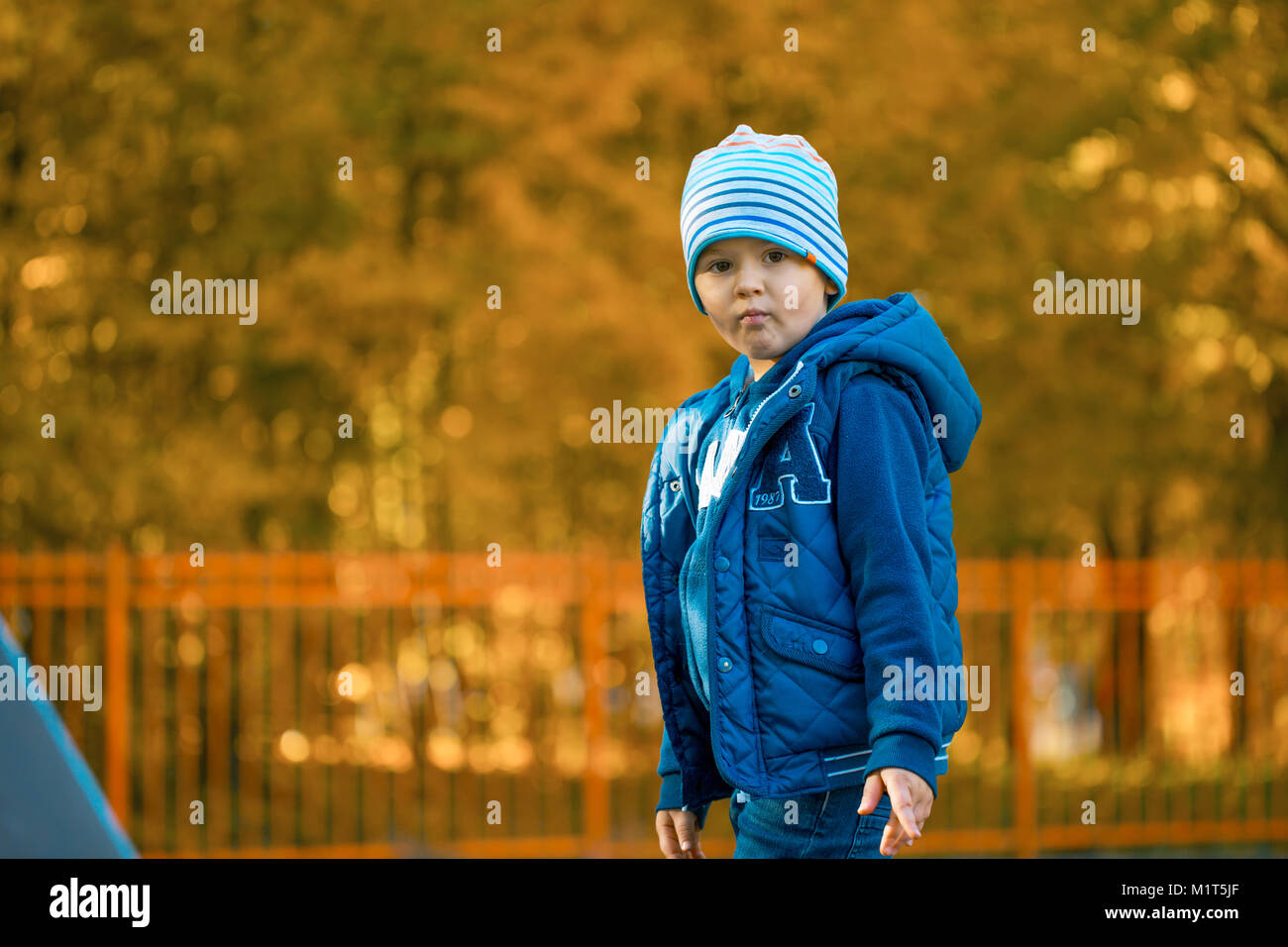 cute baby boy standing in autumn park - Stock Image